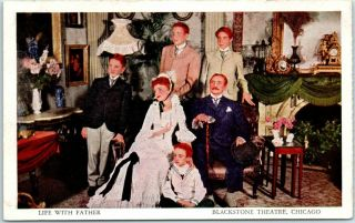 "Vintage Chicago Advertising Postcard "" Life With Father "" Play Blackstone Theatre"
