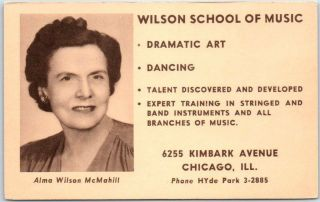 1950 Chicago,  Il Advertising Postcard Wilson School Of Music 6255 Kimbark Ave