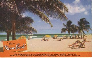 Miami Beach Fl Florida Chamber Of Commerce Advertising Ad C1940 Vintage Postcard