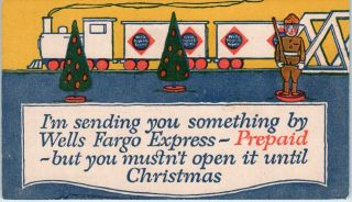 Wells Fargo Express Co Poster Style Advertising Christmas C1920s Postcard