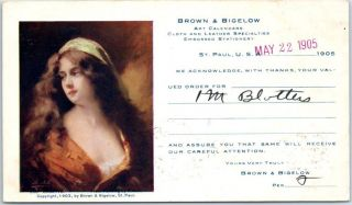 St.  Paul Mn Advertising Postcard Brown & Bigelow Art Calendars 1905 Cancel