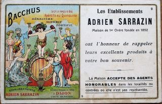Wine/liqueur/absinthe 1902 French Advertising Postcard - Adrien Sarrazin,  Dijon
