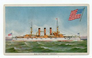 U.  S.  Navy Battleship U.  S.  S.  Virginia 1907 - 15 Prudential Insurance Advertising