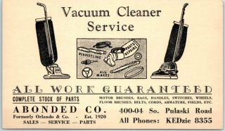 1940s Chicago Advertising Postcard Abonded Co.  Vacuum Cleaner Service Repair
