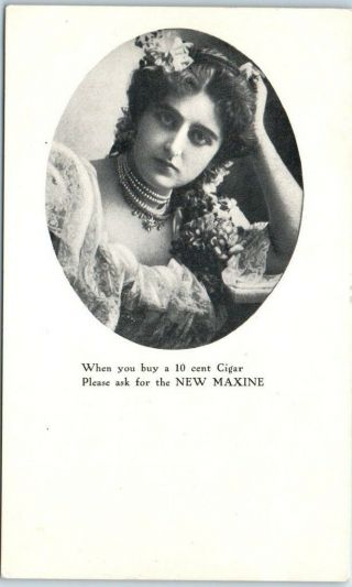 Vintage Advertising Postcard Maxine Cigars Pretty Lady C1910s