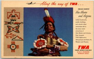 "Twa Trans World Airlines Advertising Postcard "" Indian Country "" Nm Az Linen 1952"