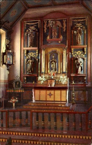 San Gabriel Mission Altar California Ca Union 76 Oil Advertising 1950s
