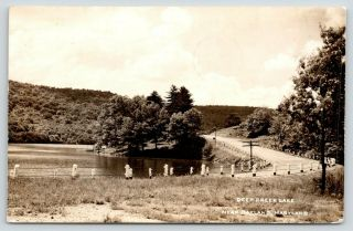 Oakland Maryland Deep Creek Lake Highway Curves Around Dock 1951 Rppc