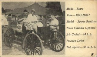 Felco Feed Adv - Sears 1903 - 04 Sport Roadster Car - C1930s - 50s Postcard