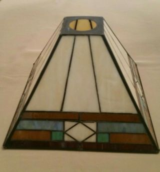 "Tiffany Style Arts And Crafts Stained Glass Lamp Shade - 9 1/2""w X 7""h"
