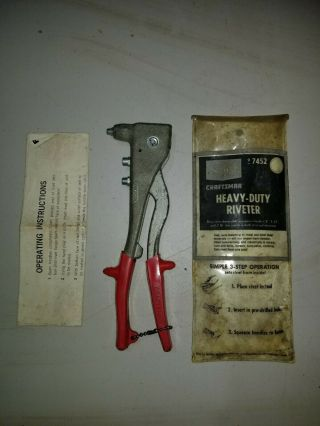 Vintage Craftsman Heavy Duty Riveter In Case With Instructions