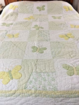 "Vintage Hand Crafted AppliquÉ Butterflies Quilt By Pottery Barn 71 "" X 89 """