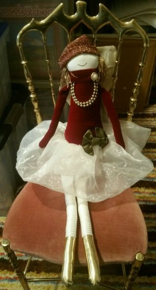 Woof & Poof Extra Large Nordstrom Red Velvet Gold 2010 Sugar Plum Fairy Doll