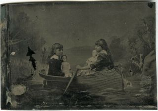 Two Girls W Their Dolls In A Prop Rowboat - Antique Tintype Photo