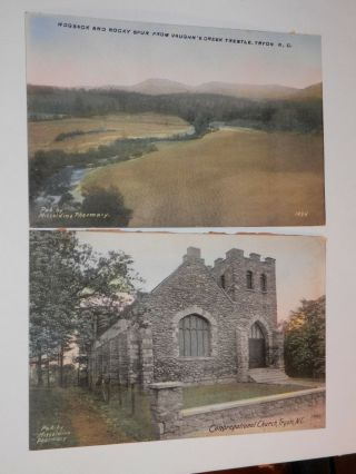 Tryon Nc - 2 Old Postcards - Congregational Church - Hogback And Rocky Spur