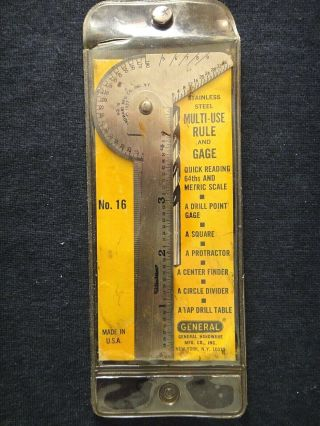 Vintage General Tool No.  16 Multi - Use Rule And Gage In Case W/ Instructions