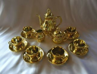 "Vintage Rare 17 - Pc Fine China Gold "" Musical "" Coffee/tea Set"
