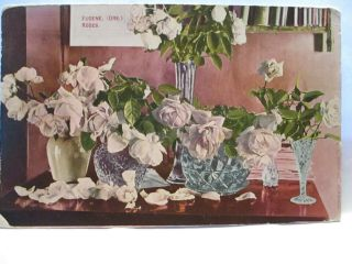 "1910 Postcard "" Eugene (ore) Roses "" W/ Cut Glass Vases On Table"