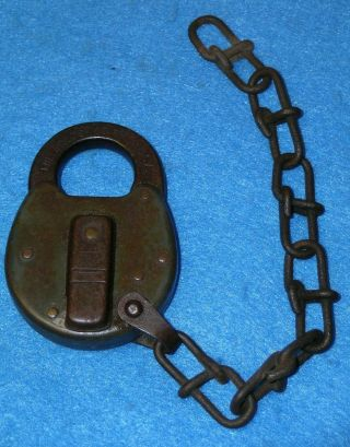 Patent 1915 Miller Lock Co Unmarked Rr Switch Padlock