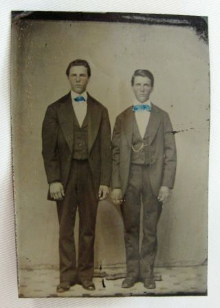 Antique Tintype Photo Portrait 2 Handsome Dapper Young Men Standing At Attention