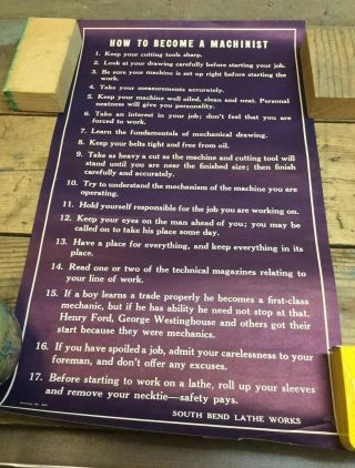 Vintage South Bend Lathe No.  250 How To Become A Machinist Poster