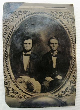 ANTIQUE TINTYPE PHOTO OF 2 HANDSOME DAPPER YOUNG MEN TAKEN FROM AN EARLIER IMAGE 2