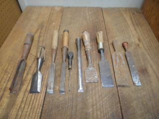 L4380 Vintage & Antique Wood Chisels - Some Need Tlc - 1 Stanley,  Etc