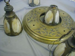 Arts & Crafts Brass Pan Fixture W/ 5 Slag Glass Shades / Restoration Or Parts