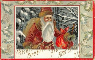 C.  1910 Red Robe Santa With Bags Of Toys Christmas Greetings Post Card