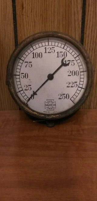 "Vintage Us Gauge Co.  Ny Altitude Gauge 4 ½ "" Diameter Brass Front Metal Back"