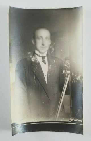 Vintage Abstract Photograph Man With Camera Self Portrait Blurry Face Snapshot