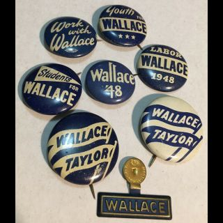 8 1948 Tin Litho Pinback Buttons Progressive Henry Wallace Us President