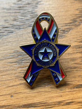 American Legion Auxiliary Ribbon Pin Red White And Blue