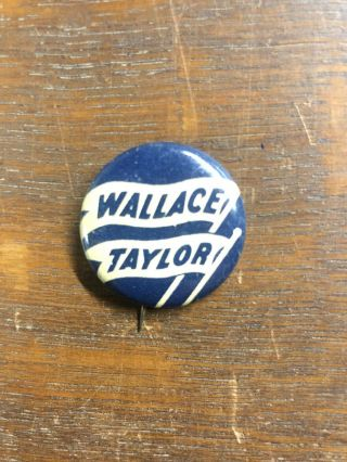 Wallace Taylor President 1948 Imber Tin Litho Pinback Button Z