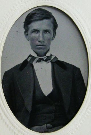 Antique Tintype Photo Of A Handsome Dapper Young Man Wearing A Striped Bow Tie