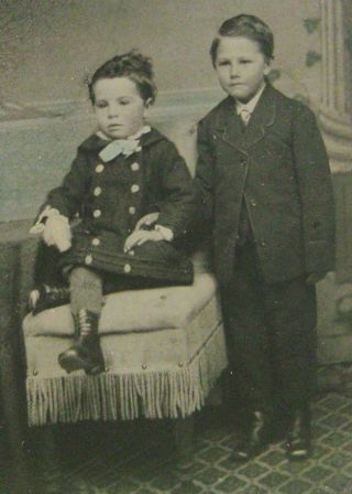Antique Tintype Photo Of 2 Handsome Dapper Boys Brothers One Wearing Dress