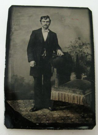 Antique Tintype Photo Of A Handsome Dapper Young Man Nicely Posed And Dressed