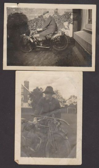 2 X Photo Of Vintage Motor Cycles C 1913