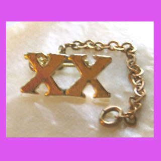 Official Xx Roman Numeral 20 Year Adult Girl Scout Pin Chain Guard Rare,  Combine