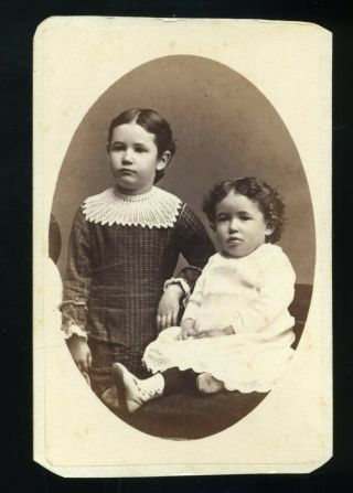 Cdv Photo Of Two Girl Great Dresses By T M Saurman Of Norristown Pa
