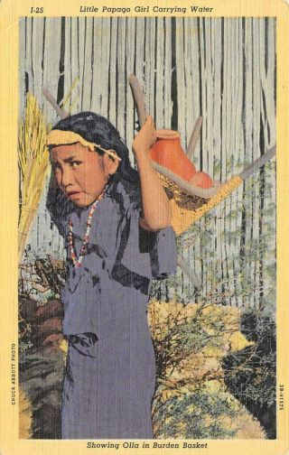 Papago Girl Carrying Water Olla Native American Indian C1940s Vintage Postcard
