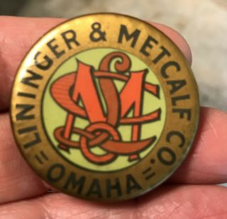 Lininger & Metcalf Co Pinback Omaha Hit Miss Gas Engine Farm Pin - Vintage