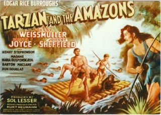Postcard Of Tarzan And The Amazons Movie