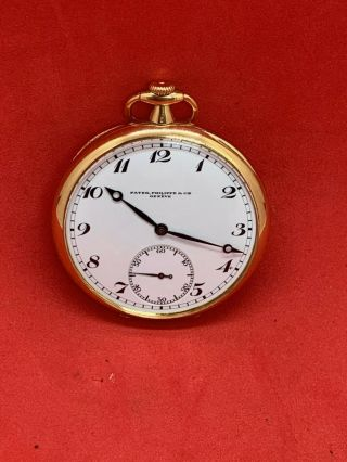 Patek Philippe Triple Signed 18k Yellow Gold Pocket Watch Exc Runs Nr