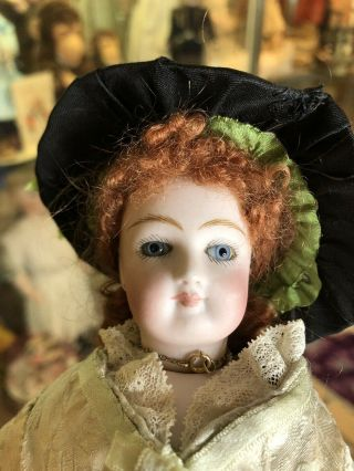 "12"" Antique FG Francois Gaultier French Fashion Doll In Fabulous Dress Red Wig 11"