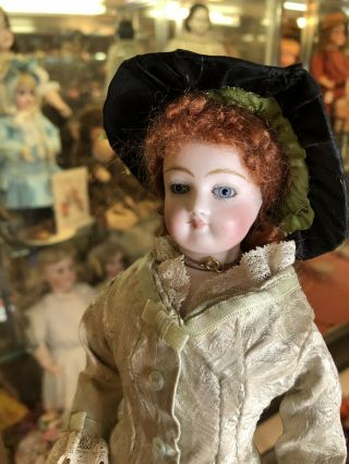 "12"" Antique FG Francois Gaultier French Fashion Doll In Fabulous Dress Red Wig 12"