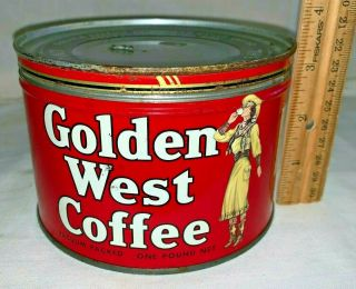 Antique Golden West Coffee Tin Litho 1lb Keywind Can Cowgirl Portland Or Grocery