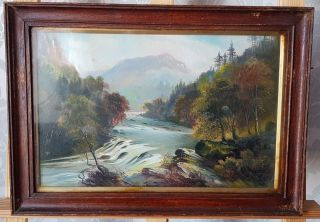Antique George Willis - Pryce Oil Painting Of A Romantic Mountain Landscape Glazed