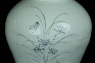 AUG122 KOREAN LATE JOSEON BLUE&WHITE PORCELAIN GRASS DESIGN POT JAR VASE 11