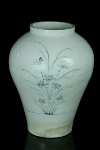 AUG122 KOREAN LATE JOSEON BLUE&WHITE PORCELAIN GRASS DESIGN POT JAR VASE 5